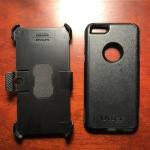 OTTER BOX PHONE CASE iPhone PLUS black w/ clip